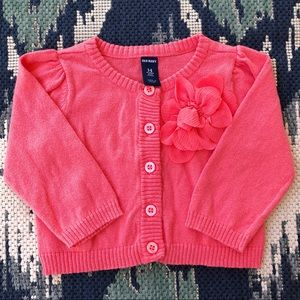 Baby Girls 3-6M Old Navy Coral Cardigan EUC🌸